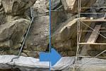 Stavba vodopádu v Bezručových sadech v Olomouci 18. srpna a 12. září 2021