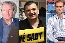 Kandidáti na předsedu OFS Olomouc - zleva Jiří Kubíček, Josef Ondroušek, Jakub Beneš