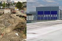 U olomouckého hlavního nádraží začala stavba odstavné haly pro tramvaje - vizualizace vpravo