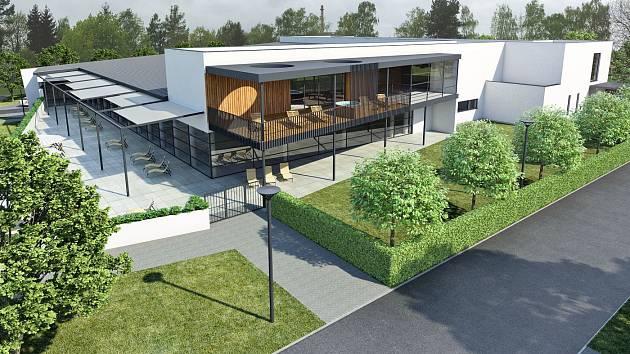 Studie šternberského bazénu od architekta Jaroslav Ševčíka. Jde o první zveřejněný návrh. Skutečná podoba bude jiná