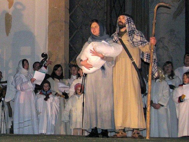 Živý betlém u baziliky na Svatém Kopečku