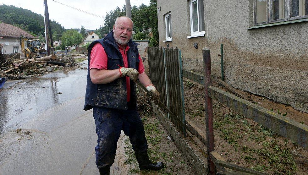 Břevenec po bleskové povodni, 8. června 2020 odpoledne