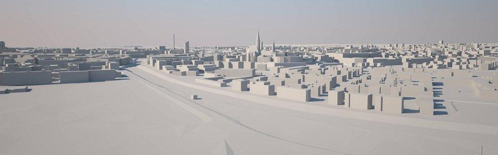 Nadhled od Hradiska. Šantovka Tower na modelu Klubu architektů Olomoucka: