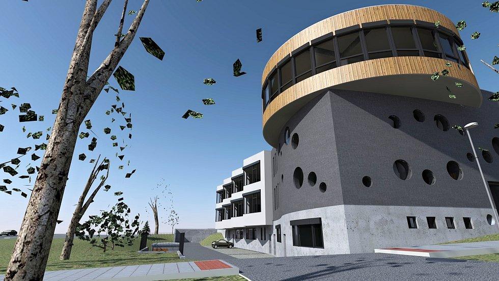 Vizualizace budovy Waldorfské školy v Olomouci