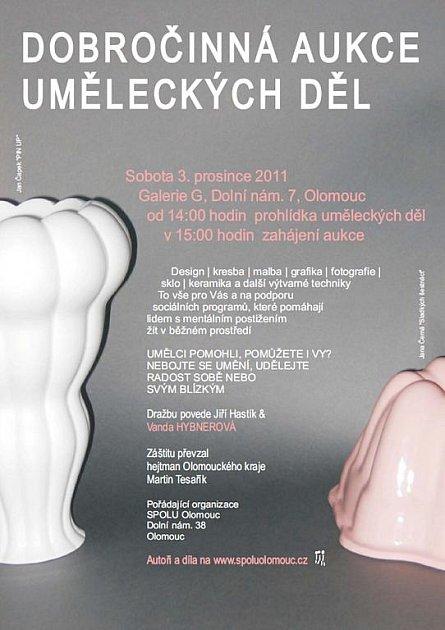 Pozvánka na dobročinnou aukci uměleckých děl volomoucké Galerii G