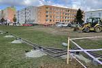 Stavba tramvajové trati na Nových Sadech, 7. dubna 2021