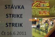 Stávka na hlavním nádraží v Olomouci. Čtvrtek 16. června po půlnoci