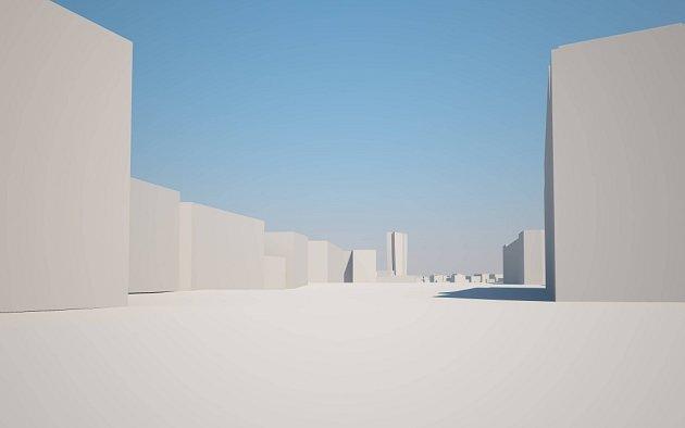 Pohled ze třídy Svobody. Šantovka Tower na modelu Klubu architektů Olomoucka: