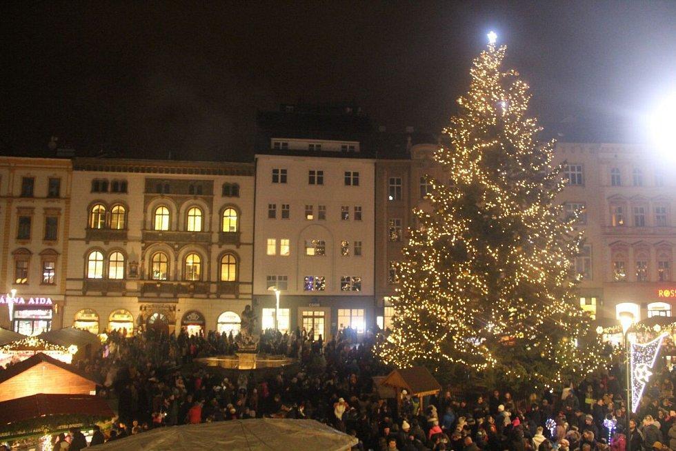 Rozsvícení vánočního stromu v Olomouci.