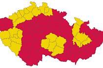 Covid semafor ze 16. října 2020 - všechny okresy Olomouckého kraje v oranžové barvě