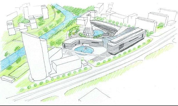 Vizualizace nového komplexu BEA centra utřídy Kosmonautů vOlomouci
