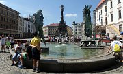 Arionova kašna na Horním náměstí v Olomouci jako vítané osvěžení v tropických vedrech. 25.6:2019
