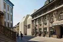 Vizualizace původně plánované novostavby SEFO vedle budovy Muzea umění Olomouc.