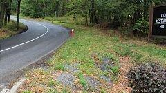 Místo tragické havárie cyklisty u Vésky