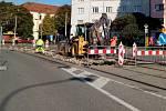 Oprava kolejí v křižovatce ulic Litovelská a Na Šibeníku