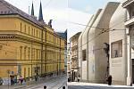 Hanácká kasárna (vlevo) a vizualizace novostavby SEFO podle arch. Šépky v proluce u Muzea umění v Olomouci