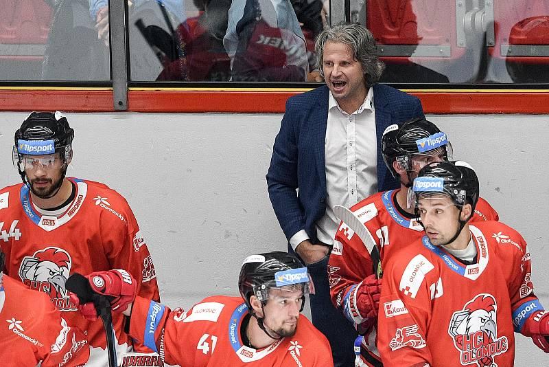 Utkání 1. kola hokejové extraligy: HC Olomouc - BK Mladá Boleslav, 10. září 2021 v Olomouci. Jan Tomajko.