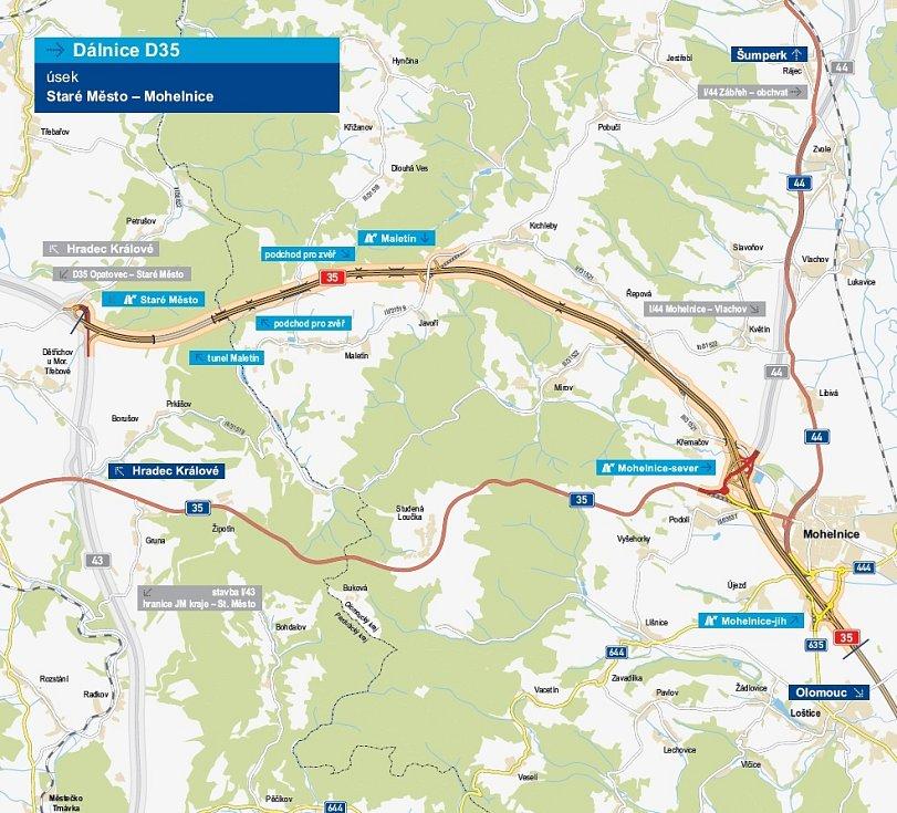 Plánovaná trasa D35 z Mohelnice do Starého Města