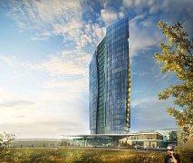 Původní vizualizace výškové budovy Šantovka Tower