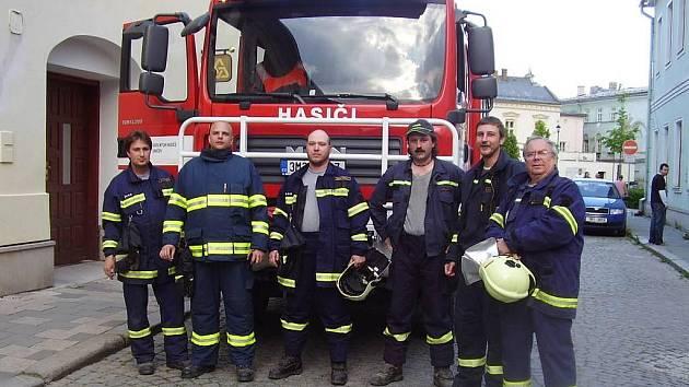 Jednotka dobrovolných hasičů v Uničově po výjezdu