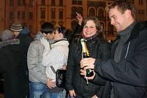 Vítání nového roku na Horním náměstí v Olomouci