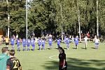 Fotbalistky Sigmy (v modrém) porazily v Drahlově FC Praha 3:1.