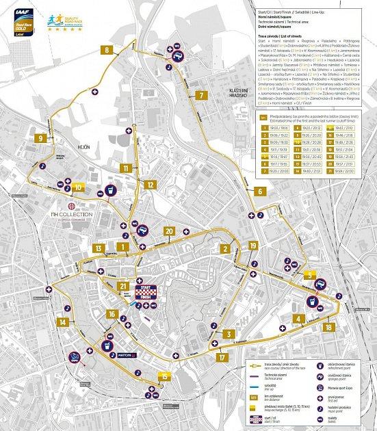 Trasa Olomouckého půlmaratonu 2019