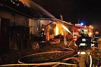 Požár přízemní budovy v Litovli