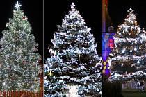 Nejhezčí vánoční stromy Olomouckého kraje. Zleva: 1. Mohelnice, 2. Lipová-lázně, 3. Prostějov