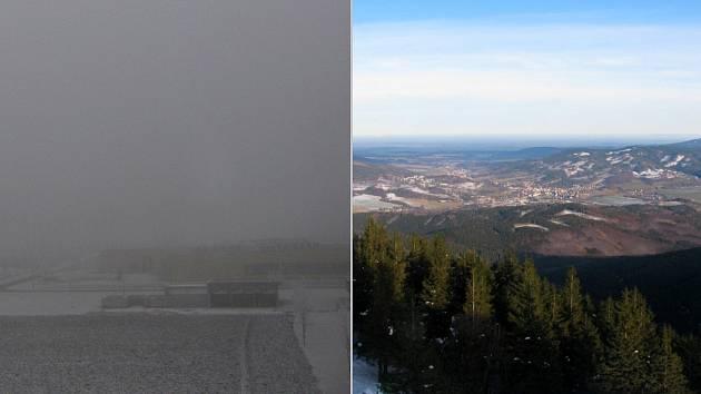 Počasí 2. ledna 2020 v Olomouci a na Šeráku v Jeseníkách. Snímek z webové kamery ČHMÚ