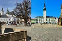 Karanténou vylidněná náměstí v Uničově (vlevo) a Litovli. Ilustrační foto