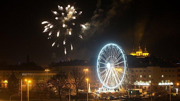 Novoroční ohňostroj v Olomouci