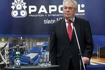 Prezident Zeman v litovelské firmě Papcel