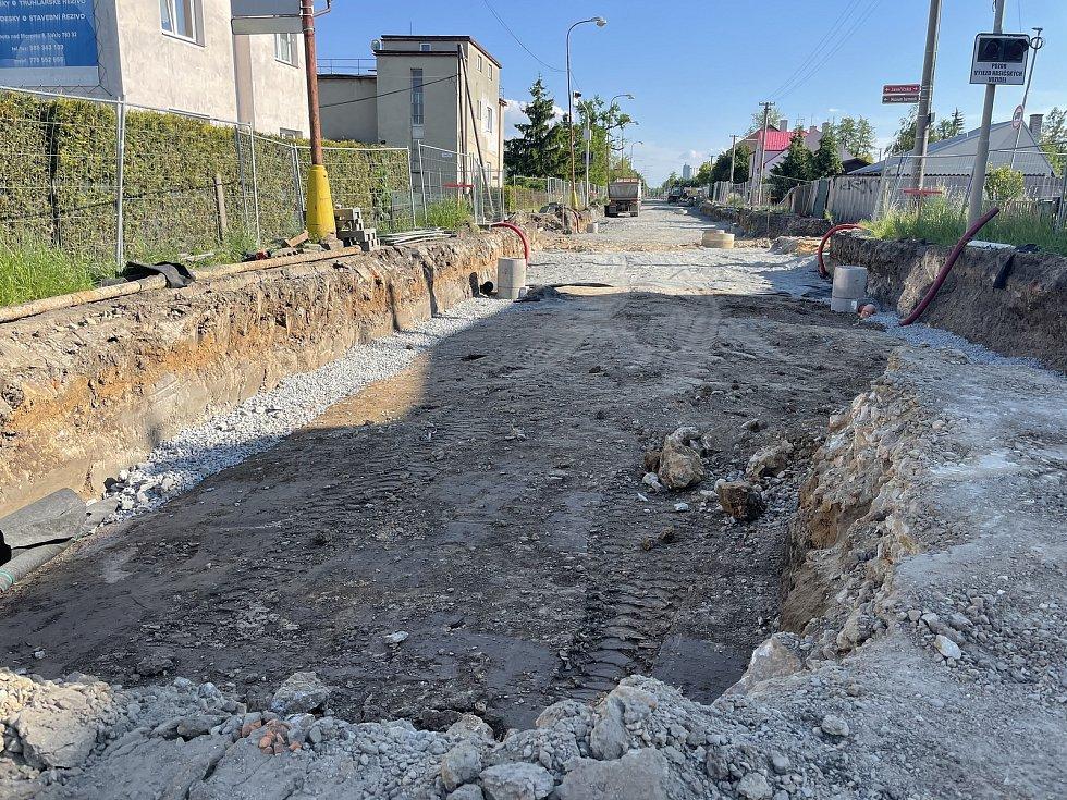 Rekonstrukce průtahu Litovlí, Dukelská ulice, 2. června  2021