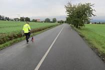 Místo dopravní nehody u Medlova, 9. 9. 2019