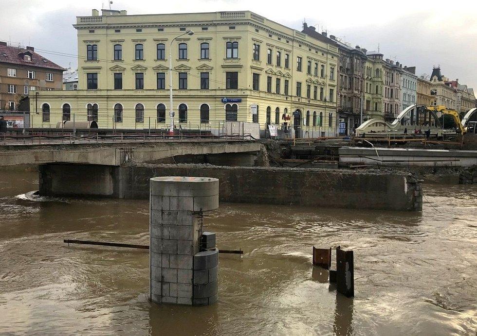Řeka Morava v Olomouci, 15. října 2020 ráno