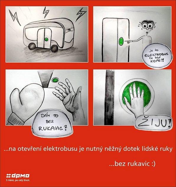 Novým olomouckým elektrobusem se nesvezou cestující, pokud si vmrazivých dnech nesundají rukavice. Tlačítko udveří na stisk vrukavici nereaguje a dveře se cestujícímu neotevřou.