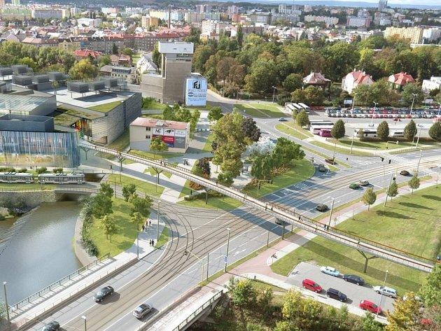 Vizualizace: Napojení tramvajové trati ze třídy 17. listopadu k obchodní galerii Šantovka