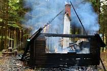 Jedna z podpálených chat na Jívové