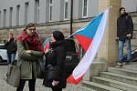Protest studentů na Žižkově náměstí v Olomouci. 15. března 2018