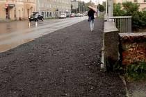 Provizorní chodník na Masarykově třídě v Olomouci