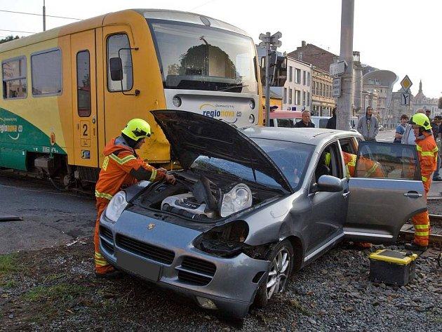 Nehoda na přejezdu v Litovelské ulici v Olomouci