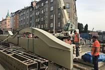 Stavba nového mostu v Masarykově ulici v Olomouci,16. září 2020