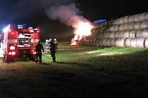 Požár stohu v Madějovicích
