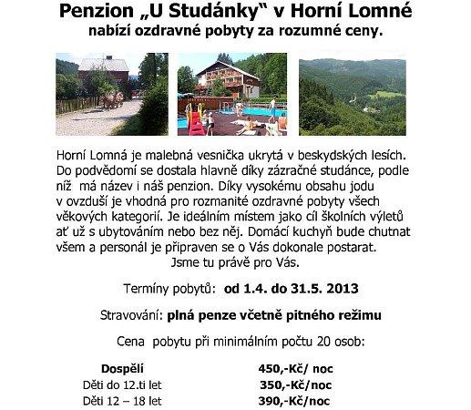 Penzion Ustudánky vHorní Lomné