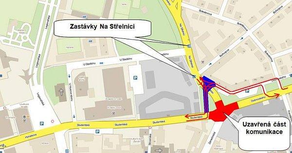 Objížďka stavby rondelu pro autobusy MHD do 22.7.2012