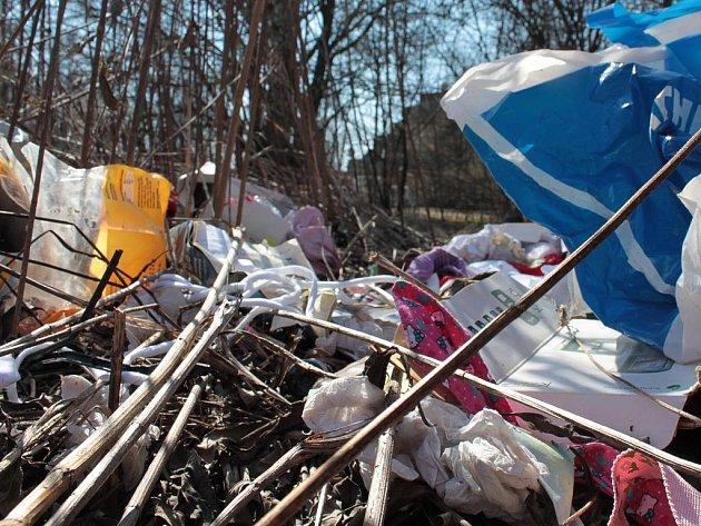 Hromady smetí kolem Mlýnského potoka v Řepčíně