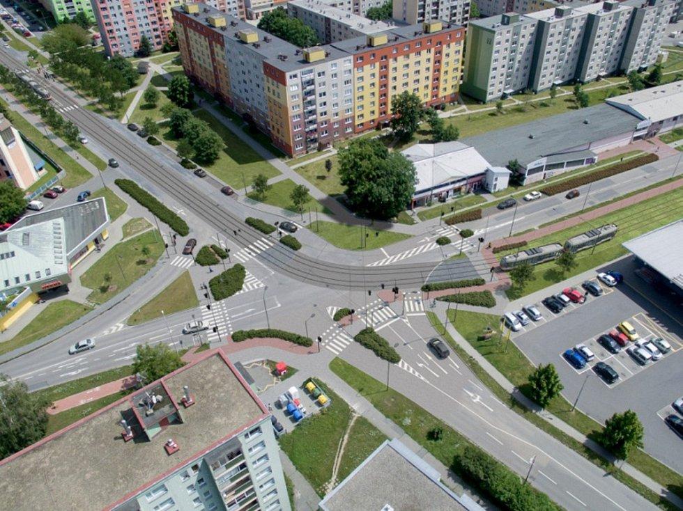 Vizualizace: křižovatka Zikova - Schweitzerova po prodloužení trati
