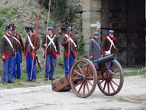 Bojové ukázky z vítězné bitvy u Domašova nad Bystřicí a Olomouce v roce 1758 na fortu v Radíkově.