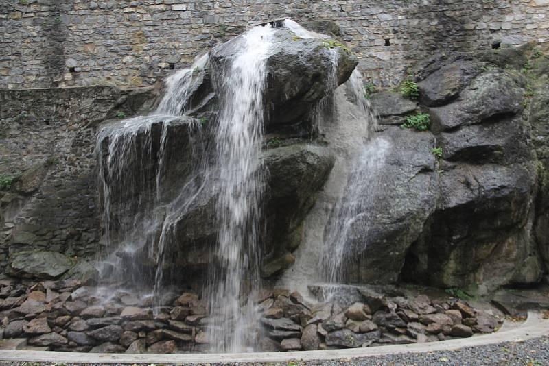 Vodopád v Bezručových sadech v Olomouci - zkušební provoz 7. října 2021.